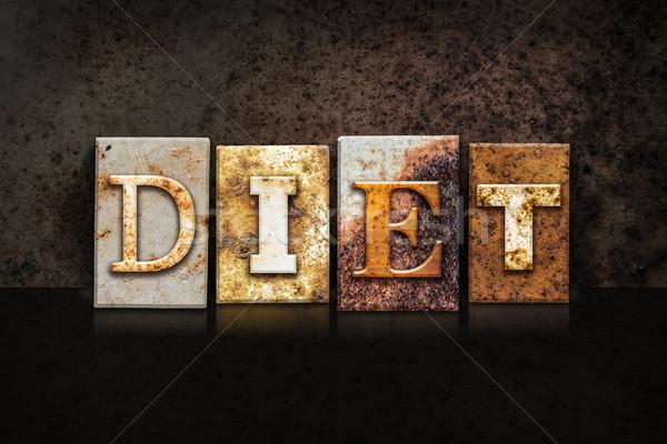 Diet Letterpress Concept on Dark Background Stock photo © enterlinedesign