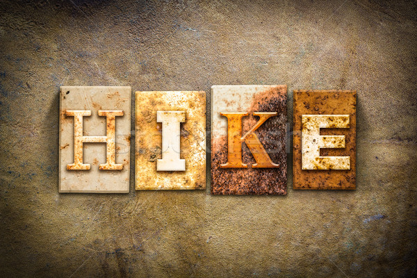 Hike Concept Letterpress Leather Theme Stock photo © enterlinedesign