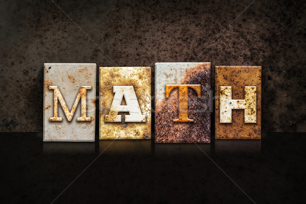 Math Letterpress Concept on Dark Background Stock photo © enterlinedesign