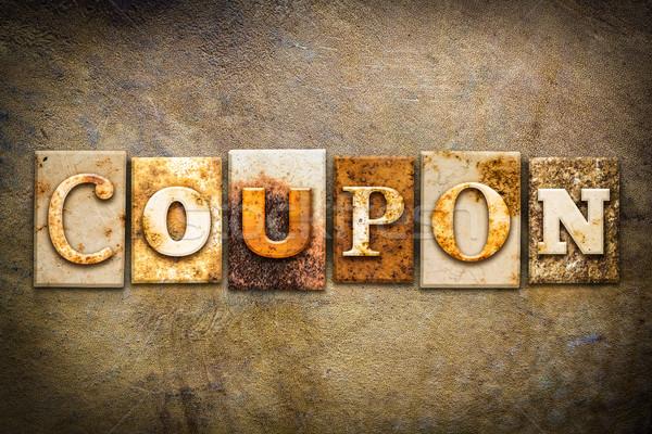 Coupon Concept Letterpress Leather Theme Stock photo © enterlinedesign