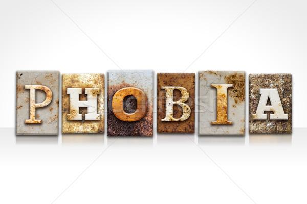 Fobia isolado branco palavra escrito Foto stock © enterlinedesign