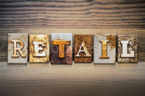 Menor palabra escrito Rusty metal Foto stock © enterlinedesign