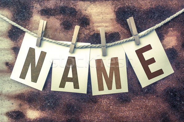 Name Concept Pinned Stamped Cards on Twine Theme Stock photo © enterlinedesign