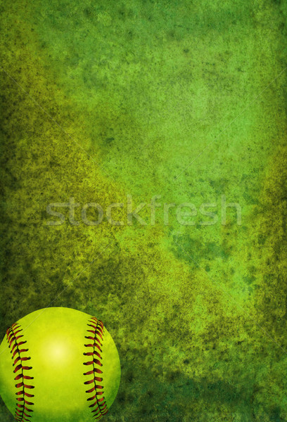 Softball balle vert chambre copier Photo stock © enterlinedesign