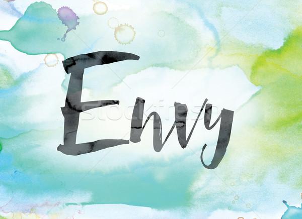 Invidiare colorato acquerello inchiostro parola arte Foto d'archivio © enterlinedesign