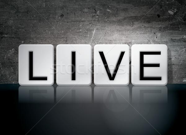 жить плиточные письма слово написанный белый Сток-фото © enterlinedesign