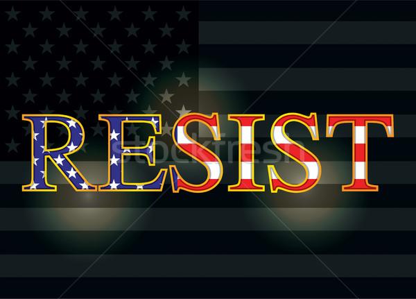 Slogan drapeau américain illustration écrit lettres sombre Photo stock © enterlinedesign