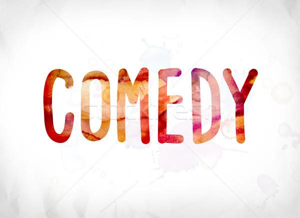 комедия окрашенный акварель слово искусства красочный Сток-фото © enterlinedesign