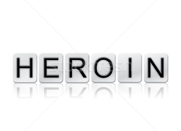 Stock photo: Heroin Concept Tiled Word Isolated on White
