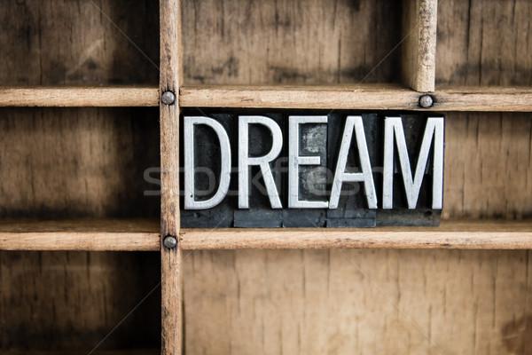Sogno metal parola cassetto scritto Foto d'archivio © enterlinedesign