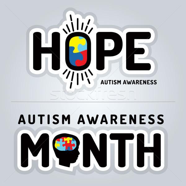 Autismus Bewusstsein Grafiken Illustration zwei Schlagzeilen Stock foto © enterlinedesign