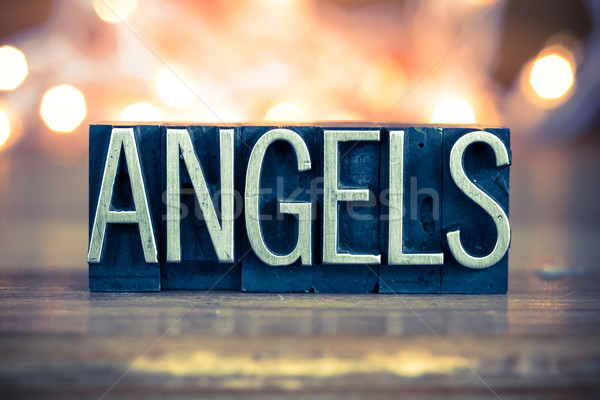 Angels Concept Metal Letterpress Type Stock photo © enterlinedesign