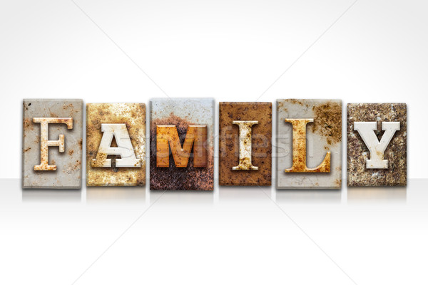Stock photo: Family Letterpress Concept Isolated on White