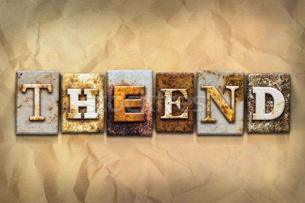 The End Concept Rusted Metal Type Stock photo © enterlinedesign