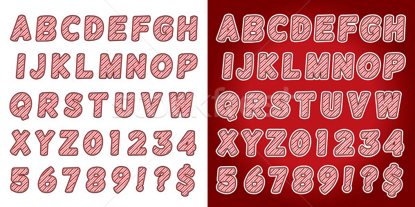 Christmas Candy Cane Alphabet Letters and Numbers Stock photo © enterlinedesign