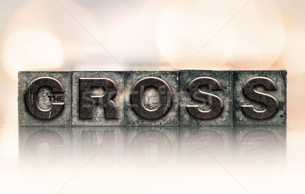 The Cross Concept Vintage Letterpress Type Stock photo © enterlinedesign