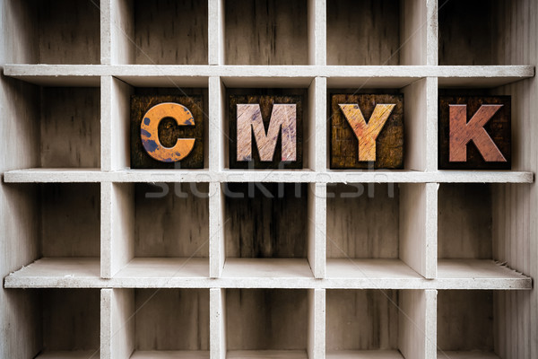 CMYK Concept Wooden Letterpress Type in Draw Stock photo © enterlinedesign
