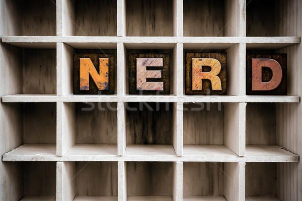 Nerd legno tipo cassetto parola Foto d'archivio © enterlinedesign