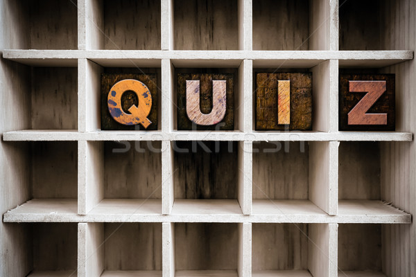 Quiz Concept Wooden Letterpress Type in Drawer Stock photo © enterlinedesign