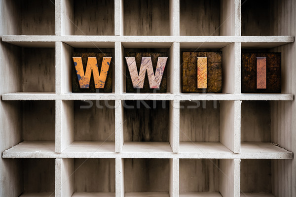 WWII Concept Wooden Letterpress Type in Drawer Stock photo © enterlinedesign