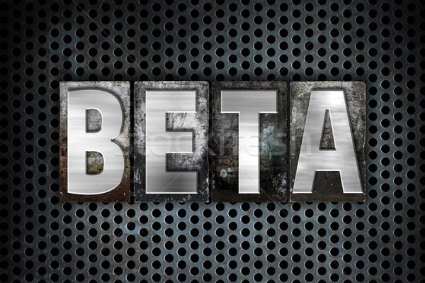 Foto d'archivio: Beta · metal · tipo · parola · scritto