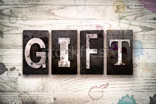 Geschenk metaal type woord geschreven Stockfoto © enterlinedesign