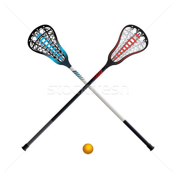 Isolated Lacrosse Sticks and Ball Stock photo © enterlinedesign