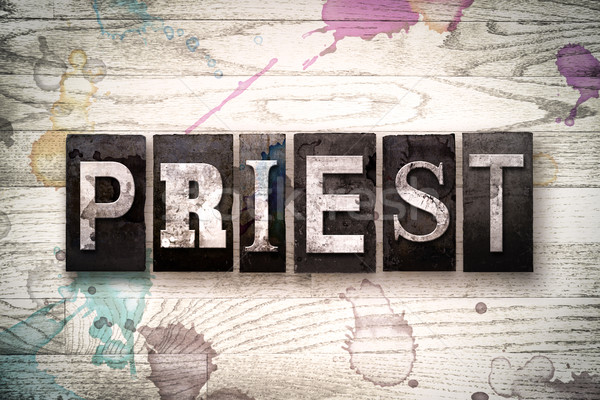 Priest Concept Metal Letterpress Type Stock photo © enterlinedesign