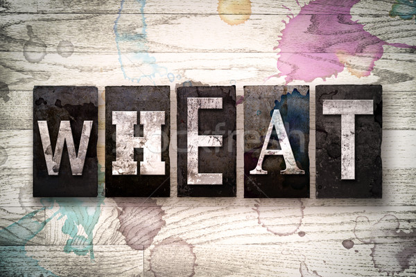 Wheat Concept Metal Letterpress Type Stock photo © enterlinedesign