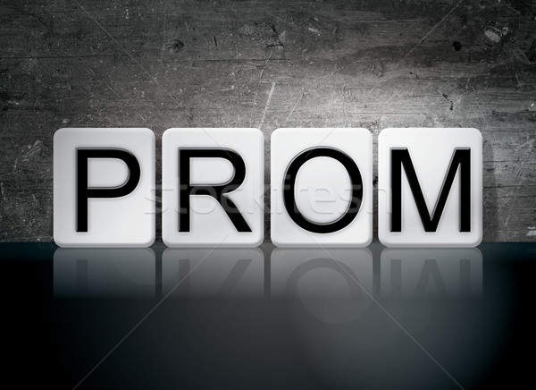 Prom azulejos cartas palavra escrito branco Foto stock © enterlinedesign