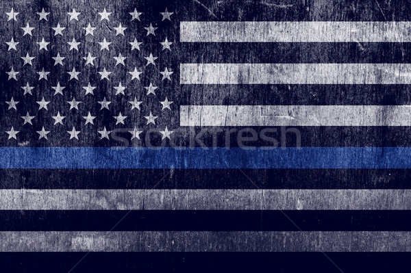 Aged Textured Police Support Flag Background Stock photo © enterlinedesign