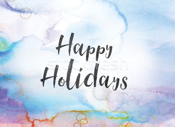 Heureux vacances couleur pour aquarelle encre peinture mots Photo stock © enterlinedesign