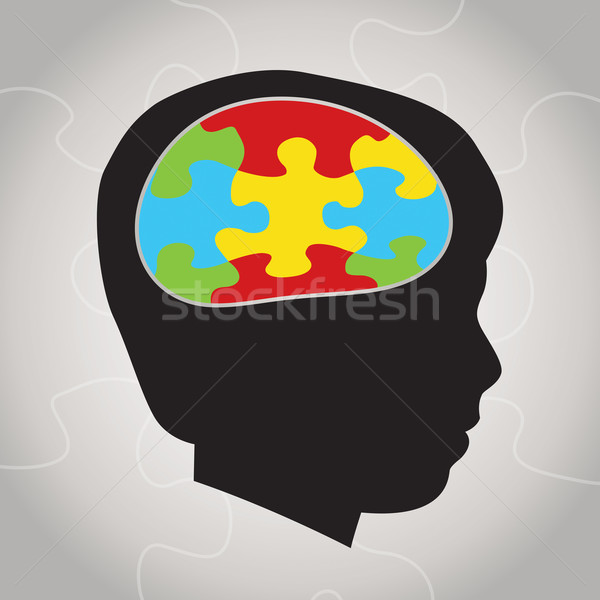 Stockfoto: Kind · autisme · silhouet · illustratie · symbolisch · puzzelstukjes