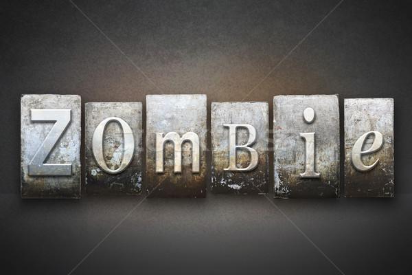 зомби слово написанный Vintage тип Сток-фото © enterlinedesign