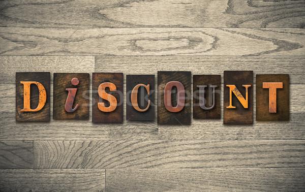Discount Wooden Letterpress Concept Stock photo © enterlinedesign
