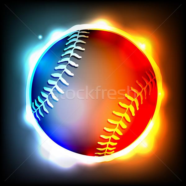 Glowing Baseball Illustration Stock photo © enterlinedesign