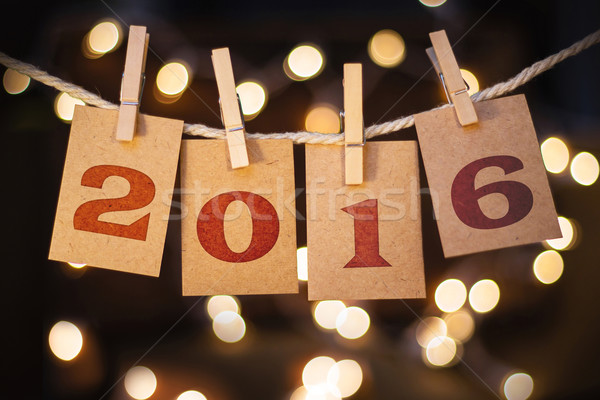 2016 Concept Clipped Cards and Lights Stock photo © enterlinedesign