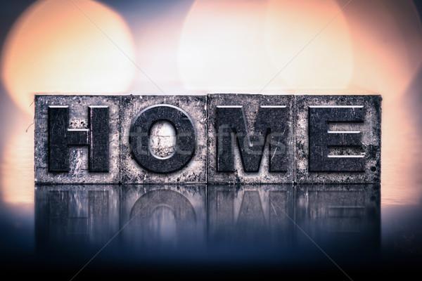 Casa vintage tipo palavra escrito Foto stock © enterlinedesign