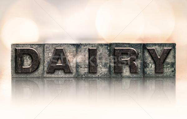 Dairy Concept Vintage Letterpress Type Stock photo © enterlinedesign