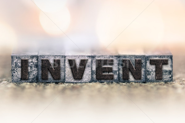 Invent Concept Vintage Letterpress Type Stock photo © enterlinedesign