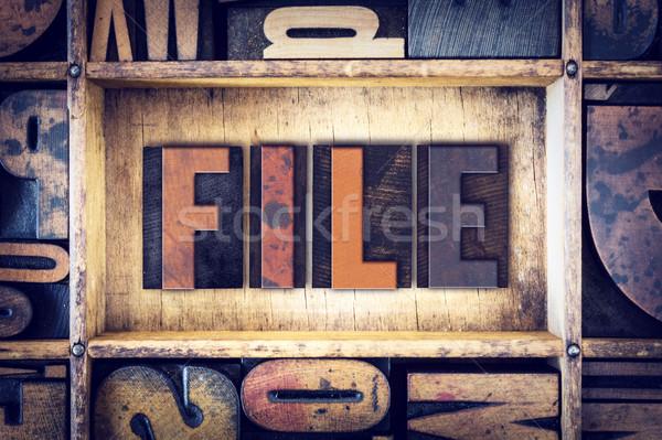File Concept Letterpress Type Stock photo © enterlinedesign
