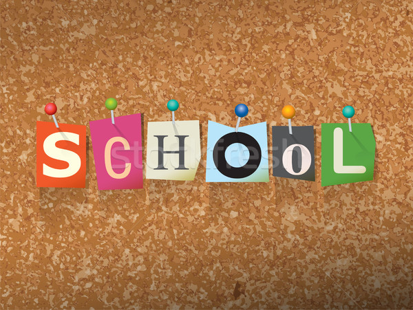 School Concept Pinned Letters Illustration Stock photo © enterlinedesign