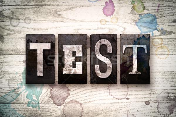 Teszt fém magasnyomás szó írott Stock fotó © enterlinedesign