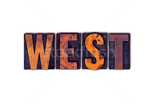 Zachód odizolowany typu słowo napisany Zdjęcia stock © enterlinedesign