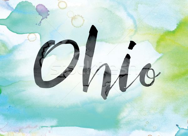 Ohio colorido acuarela tinta palabra arte Foto stock © enterlinedesign