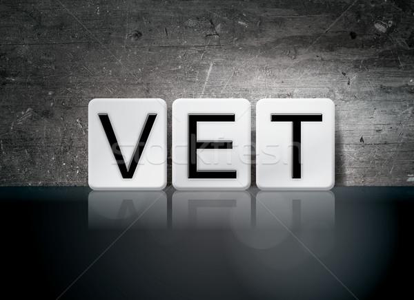 Veterinario azulejos cartas palabra escrito blanco Foto stock © enterlinedesign