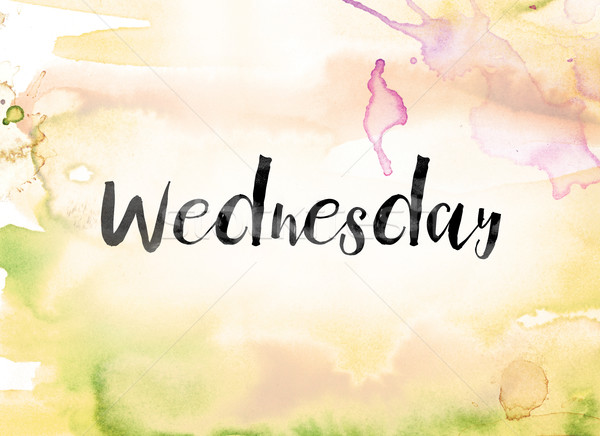 Wednesday Colorful Watercolor and Ink Word Art Stock photo © enterlinedesign