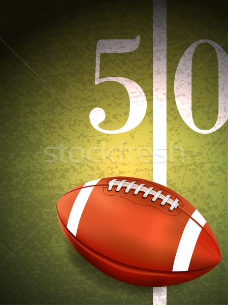 American Football Sitting on Turf Field Illustration Stock photo © enterlinedesign