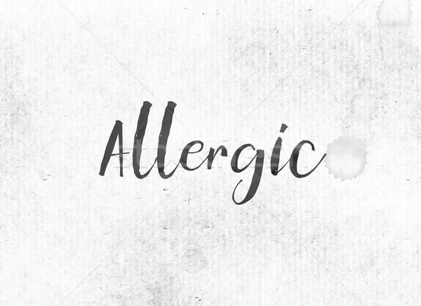 Alérgico pintado nosso palavra preto aquarela Foto stock © enterlinedesign