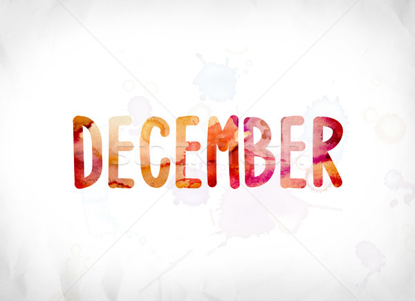 December Concept Painted Watercolor Word Art Stock photo © enterlinedesign